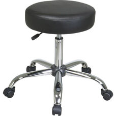 Work Smart Chrome Finish Backless Stool with Vinyl Seat and Casters - Black