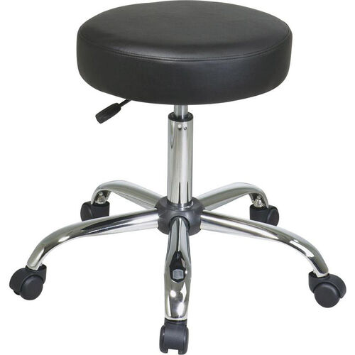 Our Work Smart Chrome Finish Backless Stool with Vinyl Seat and Casters - Black is on sale now.