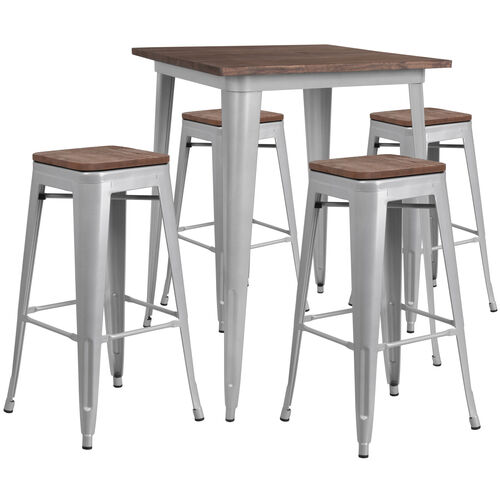 "31.5"" Square Silver Metal Bar Table Set with Wood Top and 4 Backless Stools"
