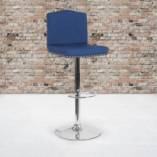 Our Bellagio Contemporary Adjustable Height Barstool with Accent Nail Trim in Blue Fabric is on sale now.