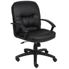 Mid Back LeatherPLUS Chair with Adjustable Tilt Tension and Spring Tilt Control - Black