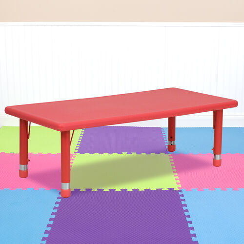"24""W x 48""L Rectangular Plastic Height Adjustable Activity Table"