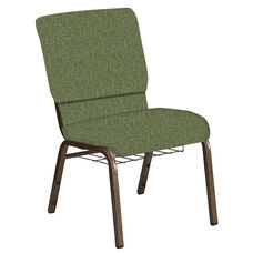 18.5''W Church Chair in Martini Olive Fabric with Book Rack - Gold Vein Frame