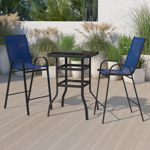 Outdoor Dining Set - 2-Person Bistro Set - Outdoor Glass Bar Table with Navy All-Weather Patio Stools