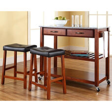 Solid Granite Top Kitchen Island Cart with 24