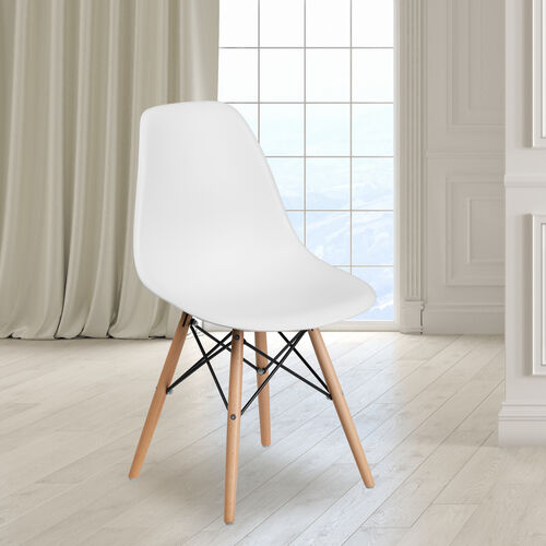 Our Elon Series White Plastic Chair with Wooden Legs is on sale now.