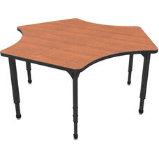 Apex Series Height Adjustable Delta Activity Table - Wild Cherry Top with Black Edge and Legs - 60