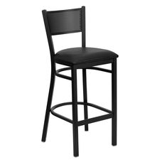 Black Grid Back Metal Restaurant Barstool with Black Vinyl Seat