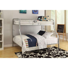 Tritan XL Twin Over Queen Metal Bunk Bed - with Built In Side Ladder - Silver