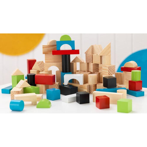 Early Childhood Development Wooden Building Block Set Includes 100 Blocks