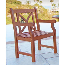 Malibu Outdoor Wood Garden Armchair with X-Back
