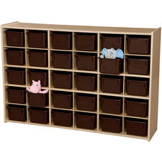 Contender Wooden Tray Storage Unit with 30 Chocolate Plastic Trays - Unassembled - 50.75