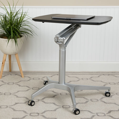 "Mobile Sit-Down, Stand-Up Black Computer Ergonomic Desk with 28.25""W Top (Adjustable Range 29"" - 41"")"