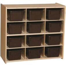 Contender Baltic Birch Storage Unit with 12 Chocolate Plastic Tubs - Assembled - 30
