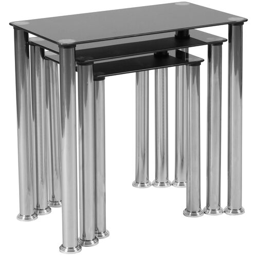 Our Riverside Collection Black Glass Nesting Tables with Stainless Steel Legs is on sale now.