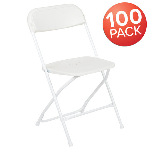 Our HERCULES Series 100 Pack 650 lb. Capacity Premium White Plastic Folding Chair is on sale now.