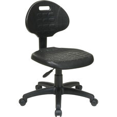 Work Smart Self-Skinned Urethane Armless Task Chair with Seat Back Height Adjustment - Black