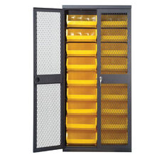 Wire Mesh Safe-View Bin Cabinet with 20 Small Bins and 8 Large Bins - Yellow