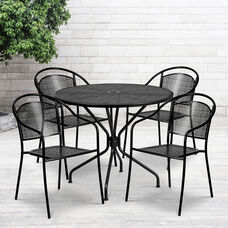 """Commercial Grade 35.25"""" Round Black Indoor-Outdoor Steel Patio Table Set with 4 Round Back Chairs"""