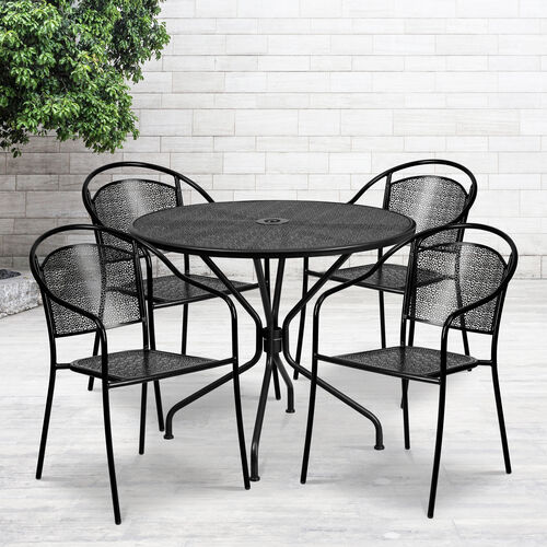 """Our Commercial Grade 35.25"""" Round Indoor-Outdoor Steel Patio Table Set with 4 Round Back Chairs is on sale now."""
