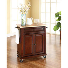 Natural Wood Top Portable Kitchen Island with Casters - Maple and Vintage Mahogany Finish