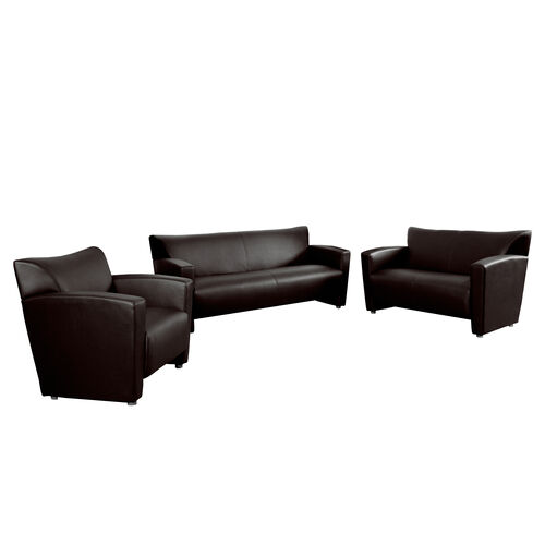 "Our HERCULES Majesty Series Reception Set in Brown LeatherSoft with <span style=""color:#0000CD;"">Free </span> Tables is on sale now."