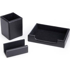 Luxury Genuine Leather Desk Set: Pen Cup Organizer, Note Tray, and Business Card Holder Lined with Genuine Suede - Black