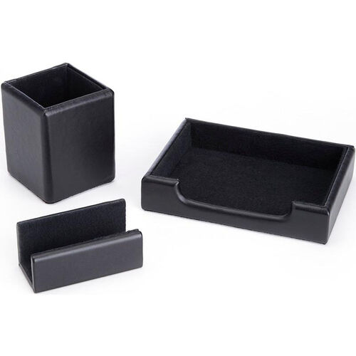 Our Luxury Genuine Leather Desk Set: Pen Cup Organizer, Note Tray, and Business Card Holder Lined with Genuine Suede - Black is on sale now.