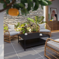 All-Weather Black Commercial Grade Indoor/Outdoor Metal 2 Tier Coffee Table