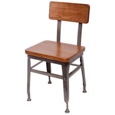 Lincoln Metal Clear Coat Side Chair - Ash Wood Seat and Back