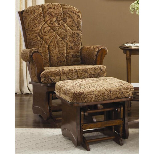 Our Maple Wood Sleigh Back Glider with Solid Sides and Arm Pads - Cherry Finish is on sale now.