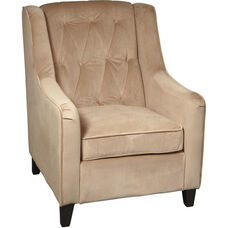 Ave Six Curves Tufted Velvet Upholstered Arm Chair - Coffee