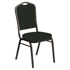 Embroidered Crown Back Banquet Chair in Jewel Ebony Fabric - Gold Vein Frame