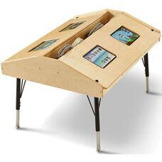 Adjustable Height Quad Tablet Ergonomic Wooden Table - 42
