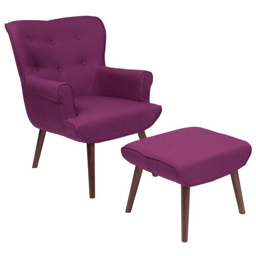 Our Bayton Upholstered Wingback Chair with Ottoman in Purple Fabric is on sale now.