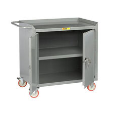Mobile Bench Cabinet with Locking Doors and Center Shelf - 24