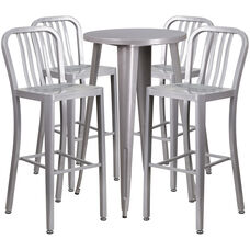 "Commercial Grade 24"" Round Silver Metal Indoor-Outdoor Bar Table Set with 4 Vertical Slat Back Stools"