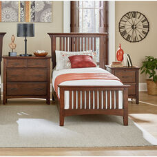 Inspired By Bassett Modern Mission Twin Bedroom Set with 1 Nightstand and 1 Chest
