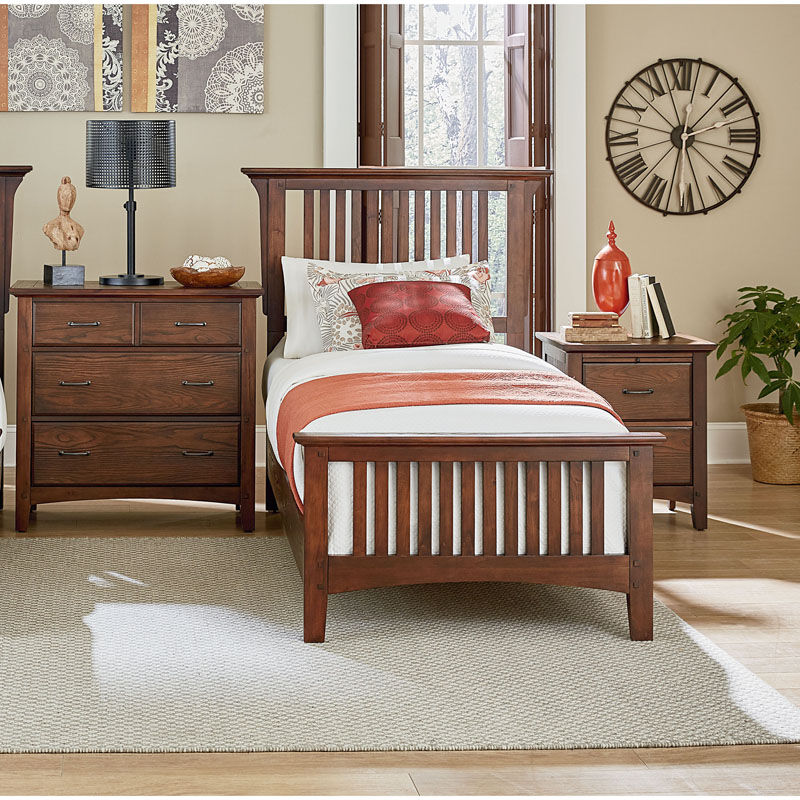 ... Our Inspired By Bassett Modern Mission Twin Bedroom Set With 1  Nightstand And 1 Chest Is