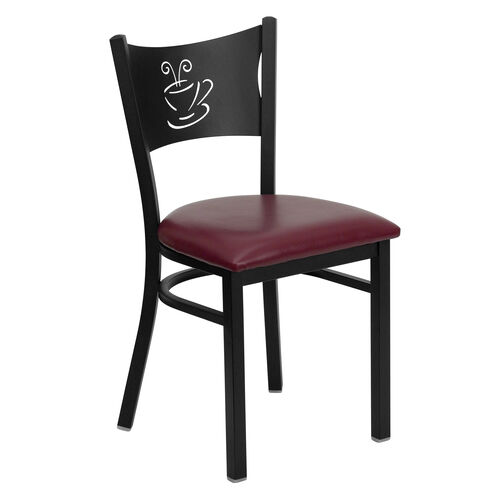 Our Black Coffee Back Metal Restaurant Chair with Burgundy Vinyl Seat is on sale now.