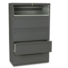 HON® 700 Series Five-Drawer Lateral File w/Roll-Out & Posting Shelves - 42w - Charcoal