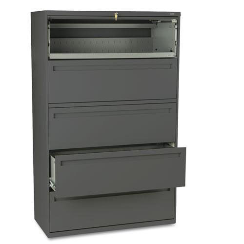 Our HON® 700 Series Five-Drawer Lateral File w/Roll-Out & Posting Shelves - 42w - Charcoal is on sale now.