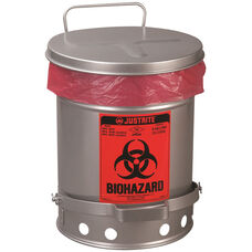 SoundGard™ 10 Gallon Steel Biohazard Waste Cans - Silver