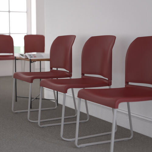 HERCULES Series 880 lb. Capacity Burgundy Full Back Contoured Stack Chair with Gray Powder Coated Sled Base