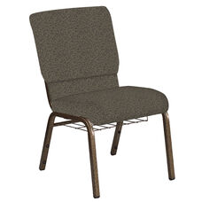Embroidered 18.5''W Church Chair in Ribbons Bark Fabric with Book Rack - Gold Vein Frame