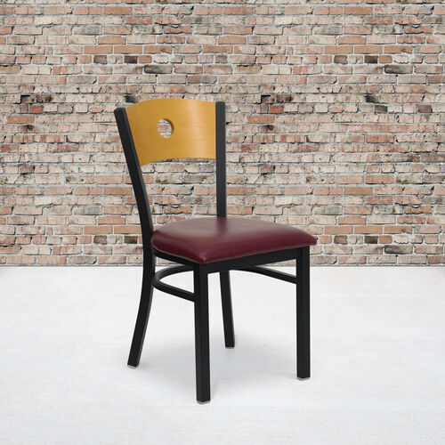 Our Black Circle Back Metal Restaurant Chair with Natural Wood Back & Burgundy Vinyl Seat is on sale now.