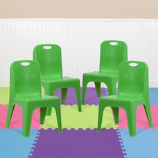 4 Pack Green Plastic Stackable School Chair with Carrying Handle and 11