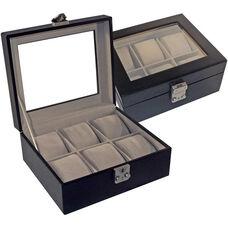 Luxury Six Slot Watch Box - Aristo Bonded Leather - Black