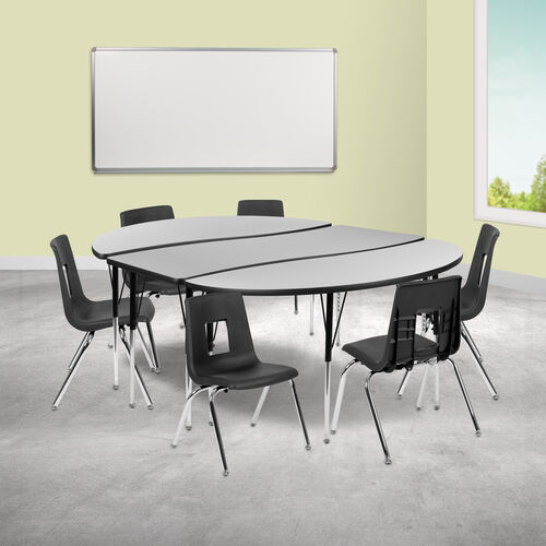 """Our 86"""" Oval Wave Collaborative Laminate Activity Table Set with 16"""" Student Stack Chairs, Grey/Black is on sale now."""