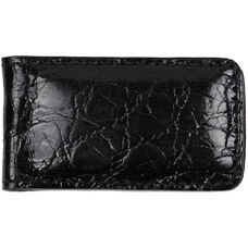 Luxury Magnetic Money Clip Wallet - Genuine Crocodile Skin Leather - Black